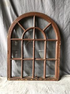 Antique 14 Lite Arched Dome Top Window Sash Shabby Old Vtg Chic 33x26 723 17e