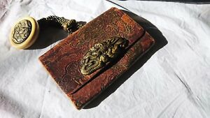 Antique Japanese Sagemono Purse Pouch Dragon Pattern Kagamibuta Ivorine Netsuke