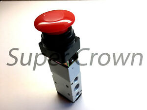 Pneumatic Mechanical Valve Mv 10d 5 Port 2 Position Red Flat Push Button
