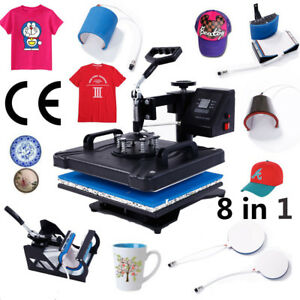 8 In 1 New Heat Press Machine Transfer Sublimation T shirt Mug Plate Cap Hat Us