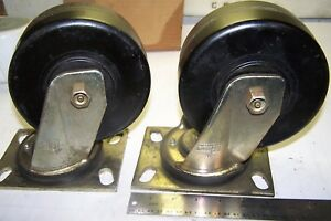 2 New Bassick Kaspar Swivel Heavy Duty Caster Wheels 6 X 2 1 2 Wide Lot Of 2