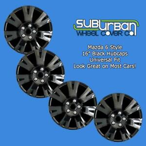 09 10 11 12 13 Mazda 6 Style 1032 16blk 16 Black Hubcaps Wheel Covers Set 4
