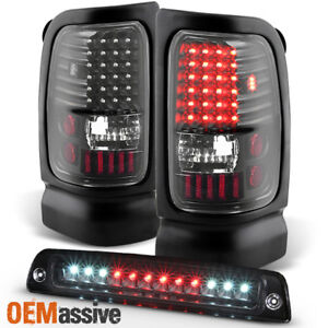 Fit 1994 2001 Dodge Ram 1500 2500 3500 Black Led Tail Lights 3rd Brake Lamp