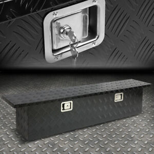 63 x12 x14 Black Aluminum Pickup Truck Trunk Bed Tool Box Trailer Storage lock