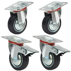 Swivel Caster Wheels 3 Rubber Base With Top Plate Bearing Heavy Duty W Brake