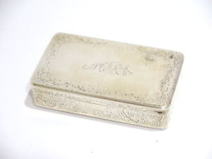 3 3 8 In Sterling Silver Gold Wash Interior Antique English Floral Snuff Box