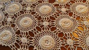 Vintage Hand Crochet Lg Open Stitch Table Linen Bedspread Queen Full 70x90