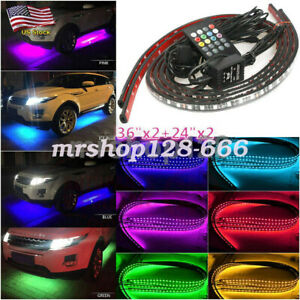 4pcs 7 Color Rgb Led Neon Lights Strip Trim Car Tube Under Glow Body System Kit