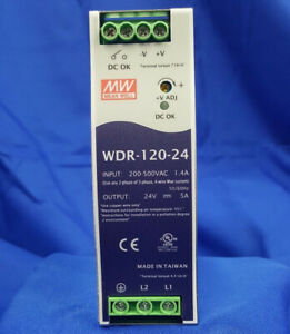 Mean Well Wdr 120 24 Ac dc Power Supply Single out 24v 5a 120w Us Authorized
