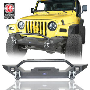 Rock Crawler Front Bumper W Led Lights Winch Plate For 97 06 Jeep Wrangler Tj