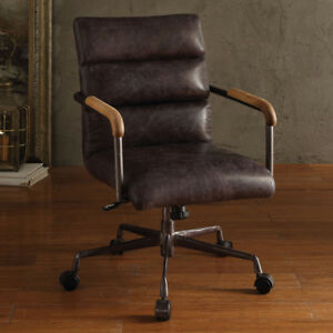Harith Home Office Executive Chair Antique Ebony Top Grain Leather Metal Base