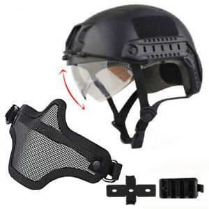 Tactical Airsoft Paintball Military Protective SWAT Helmet w Goggle + half Mask