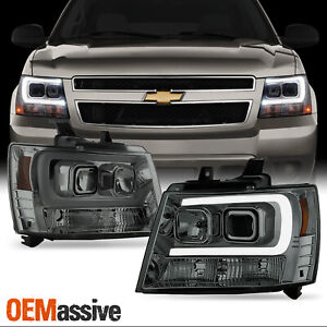 For 07 14 Chevy Suburban Tahoe Avalanche Smoked Led Drl Projector Headlights