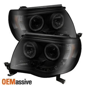 Fits 05 11 Toyota Tacoma Black Smoked Halo Projector Led Headlights Aftermarket