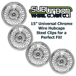 15 Universal Fit Chrome Wire Hubcaps Wheel Covers 1215 Brand New Set 4