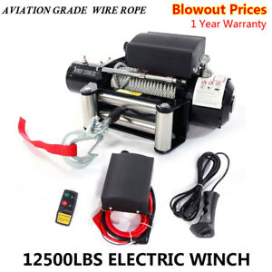 Classic 12500lbs 12v Electric Recovery Winch Truck Suv Wireless Remote Control