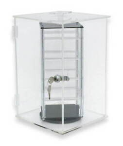 Earring Display Case Tabletop Acrylic Revolving Theftproof Locks Holds 32 Pair