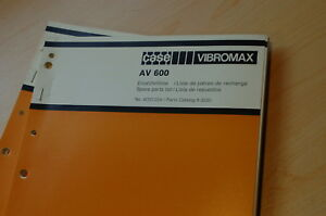 Case Vibromax Av600 Plate Compactor Parts Manual Book Catalog Spare List 1987