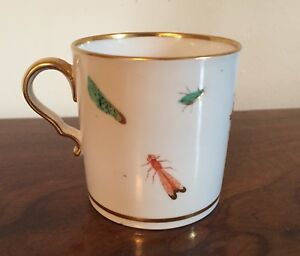 Antique Coffee Can Cup Old Paris Porcelain Shells Insects Butterfly 19th C 4