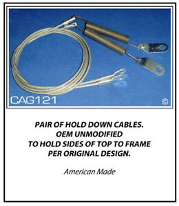 Geo Metro Convertible Top Hold Down Cables 1990 93 Pair Side Cables