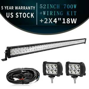 52inch Led Light Bar 700w Straight 2x 4 Pods For Ford 4x4 Offroad wiring