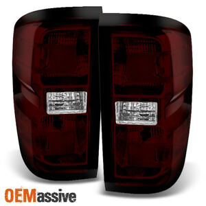 Fit 2014 2018 Chevy Silverado Pickup Dark Red L r Tail Lights Pair Replacement