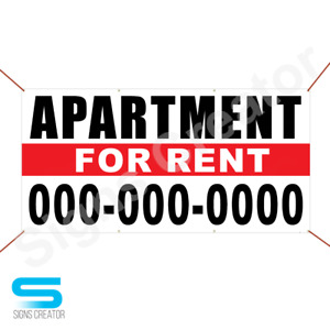 3 x6 Sign Apartment For Rent Custom Phone Numbe Banner Business Advertising