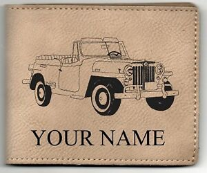Willys Jeepster Leather Billfold With Drawing And Your Name On It Nice Quality