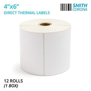 Smith Corona 12 Rolls 475 Labels roll 4x6 Direct Thermal Shipping Labels