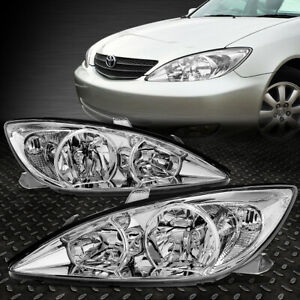 For 02 04 Toyota Camry Chrome Housing Clear Corner Headlight Replacement Lamps