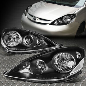 For 06 10 Toyota Sienna Black Housing Clear Corner Headlight Replacement Lamps