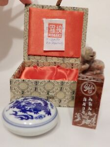 Chinese Wax Stamp Seal Dog In Original Silk Box With Porcelain Wax Pot Robert