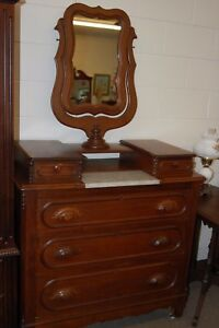Vintage Antique Marble Insert Dresser With Harp Mirror From An Estate