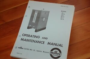 Miller Welder Model 300 400 500 S Sp Owner Operator Operation Maintenance Manual