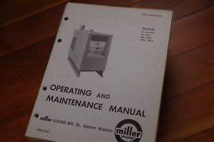 Miller Welder Model Dah D 250 L Owner Operator Operation Maintenance Manual Book
