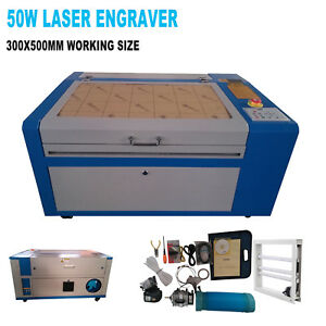 50w Co2 Laser Engraving Machine Engraver Cutter W Water Air Pump Rotary Device