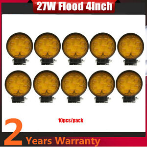 10pcs 27w Round Led Work Light Flood Driving Fog 5d Yellow Lamp Offroad Ford Car