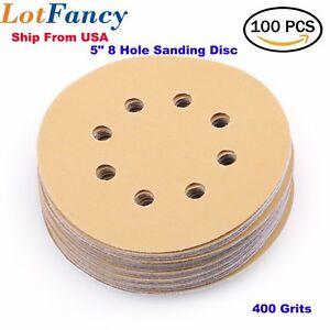 5in 400 Grit Sanding Discs Sandpaper Random Orbital Hook & Loop Sander Sheet Pad