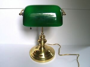 Mid Century Modern Green Glass Brass Desk Lamp Tested