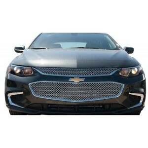 Fits Chevy Malibu 2016 2017 Chrome Abs Top Mesh Grille Overlay Insert 2pcs