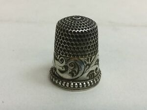 Sterling Thimble With Scrolls Monogrammed By Simons Bros Co C1880s