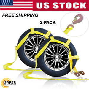 Tow Dolly Basket Tie Down Straps With Snap Hooks Fits 14 17inch Wheels X2 Yellow
