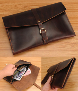Cow Leather File Case Folder Pocket Messenger Bag Briefcase Customize Brown Z618
