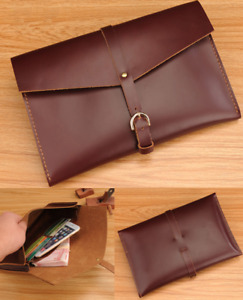 Cow Leather File Folder Pocket Messenger Bag Case Briefcase Handmade Brown Z618