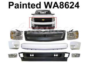 Painted Wa8624 Front Bumper End Grille Fog Combo 10 Pcs For 07 13 Silverado 1500