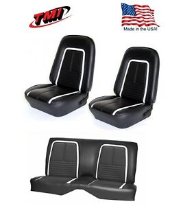 1967 Camaro Coupe Deluxe Front Rear Seat Upholstery In Black W White Stripe