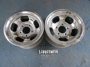 Vintage Pair Polished 15x7 Us Indy Style Mag Mags 5 On 5 1 2 4x4 Ford Pickup