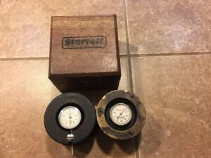 2 Vintage L s Starrett 196 Dial Indicator Metal Housing And Wooden Case