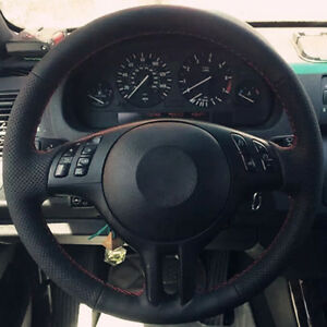 Black Artificial Leather Steering Wheel Cover Wrap For Bmw E46 325i