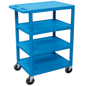 Luxor Bc45 bu 36 inch Blue Durable Four Flat Shelf Rolling Storage Utility Cart